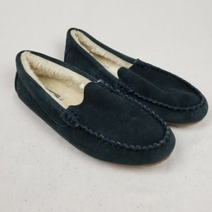 Lands' End Suede Leather Moccasin Slippers Navy